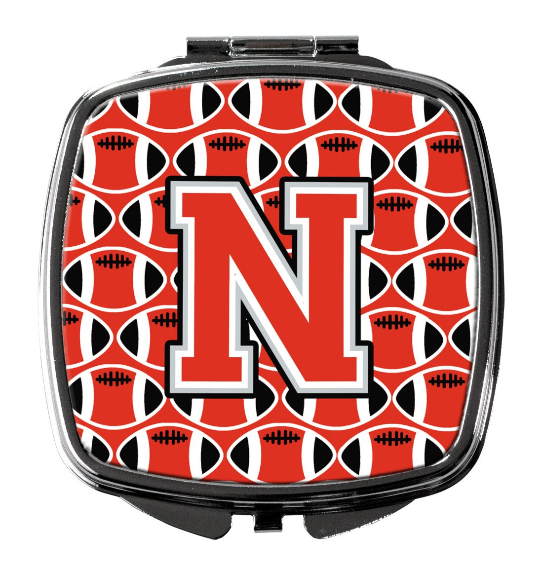 Letter N Football Scarlet and Grey Compact Mirror CJ1067-NSCM by Caroline's Treasures