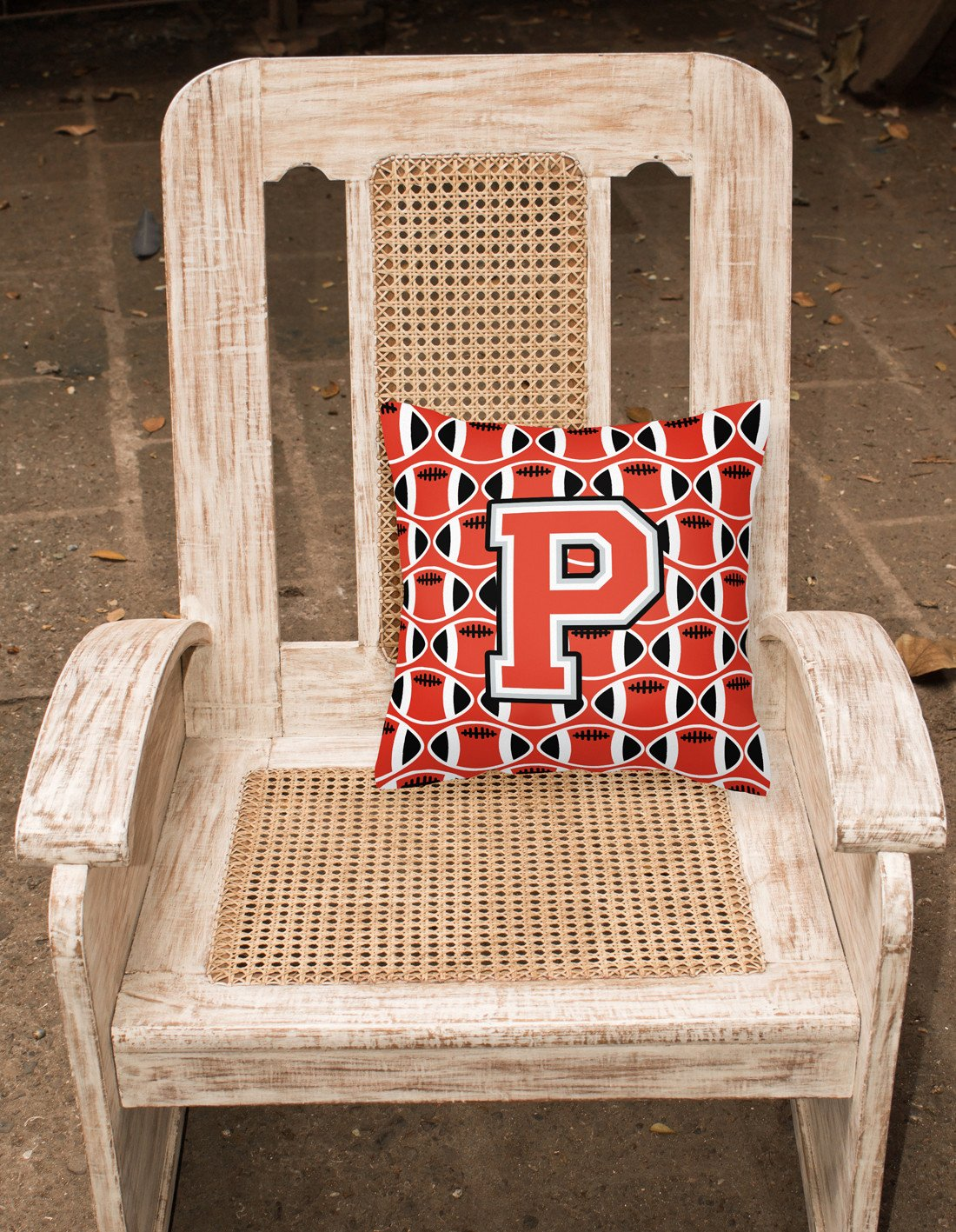 Letter P Football Scarlet and Grey Fabric Decorative Pillow CJ1067-PPW1414 by Caroline's Treasures