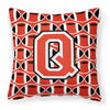Letter Q Football Scarlet and Grey Fabric Decorative Pillow CJ1067-QPW1414 by Caroline's Treasures