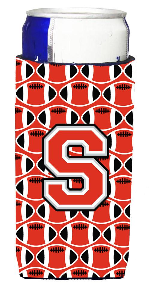 Letter S Football Scarlet and Grey Ultra Beverage Insulators for slim cans CJ1067-SMUK by Caroline's Treasures