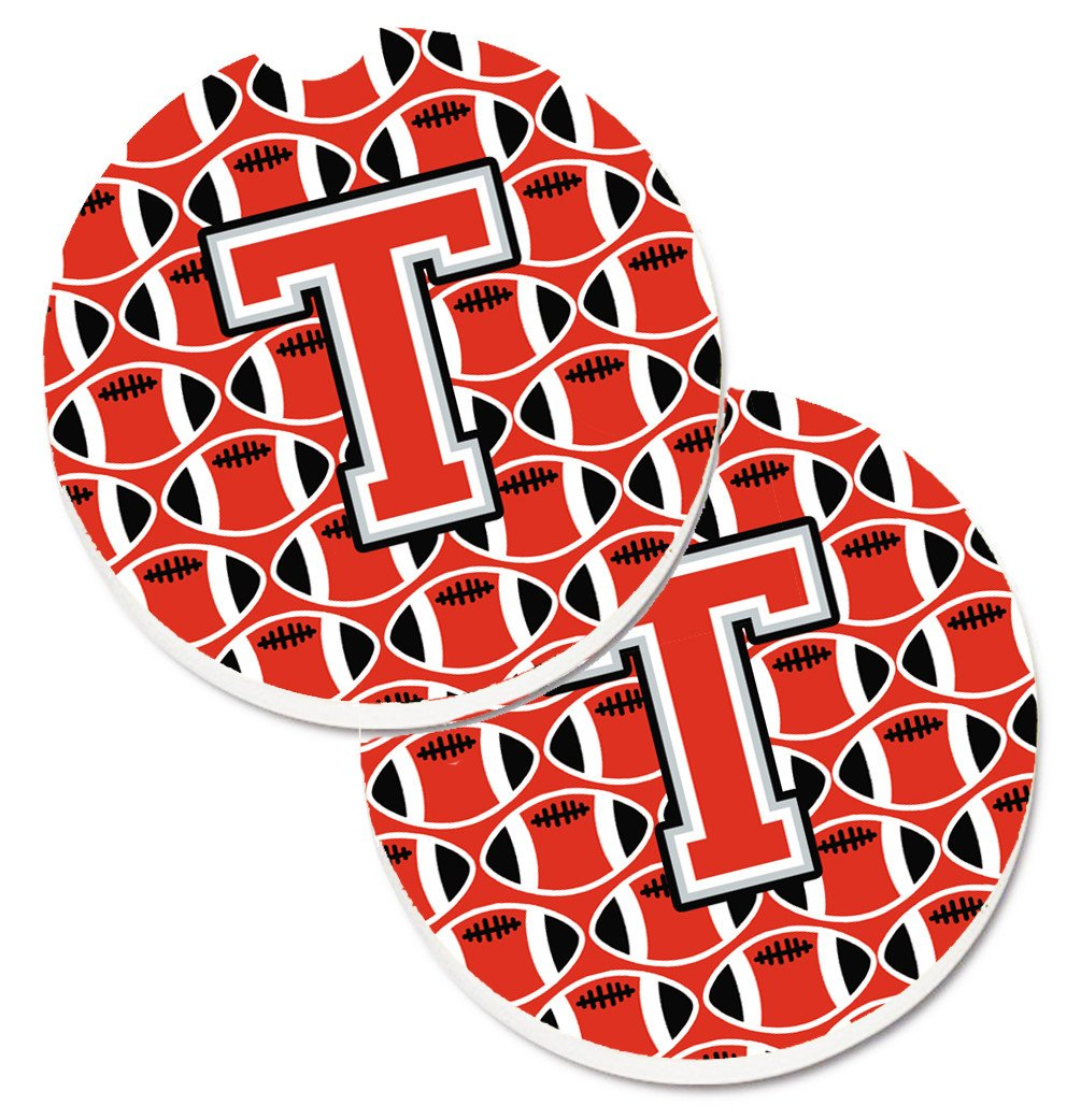 Letter T Football Scarlet and Grey Set of 2 Cup Holder Car Coasters CJ1067-TCARC by Caroline's Treasures