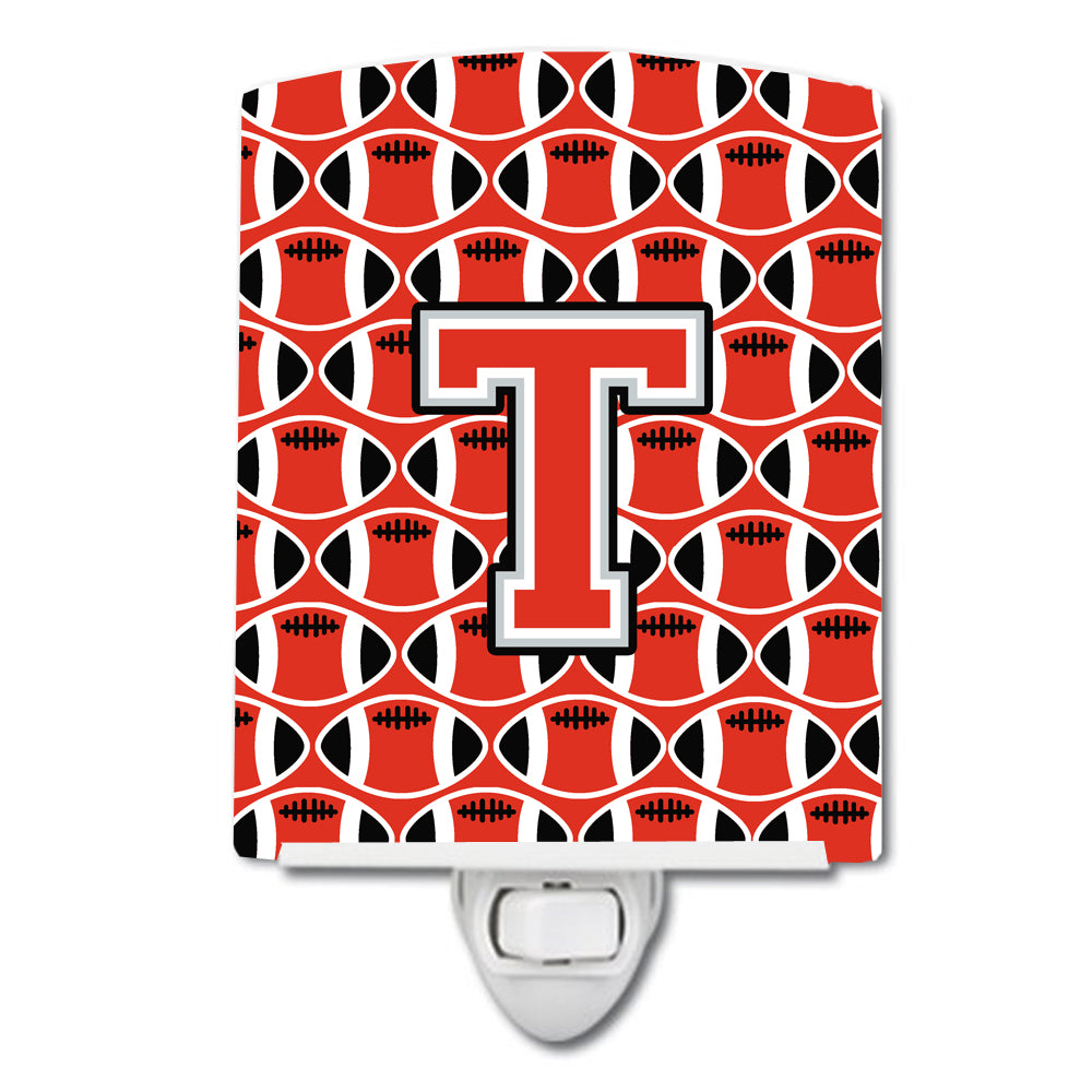 Buy this Letter T Football Scarlet and Grey Ceramic Night Light CJ1067-TCNL