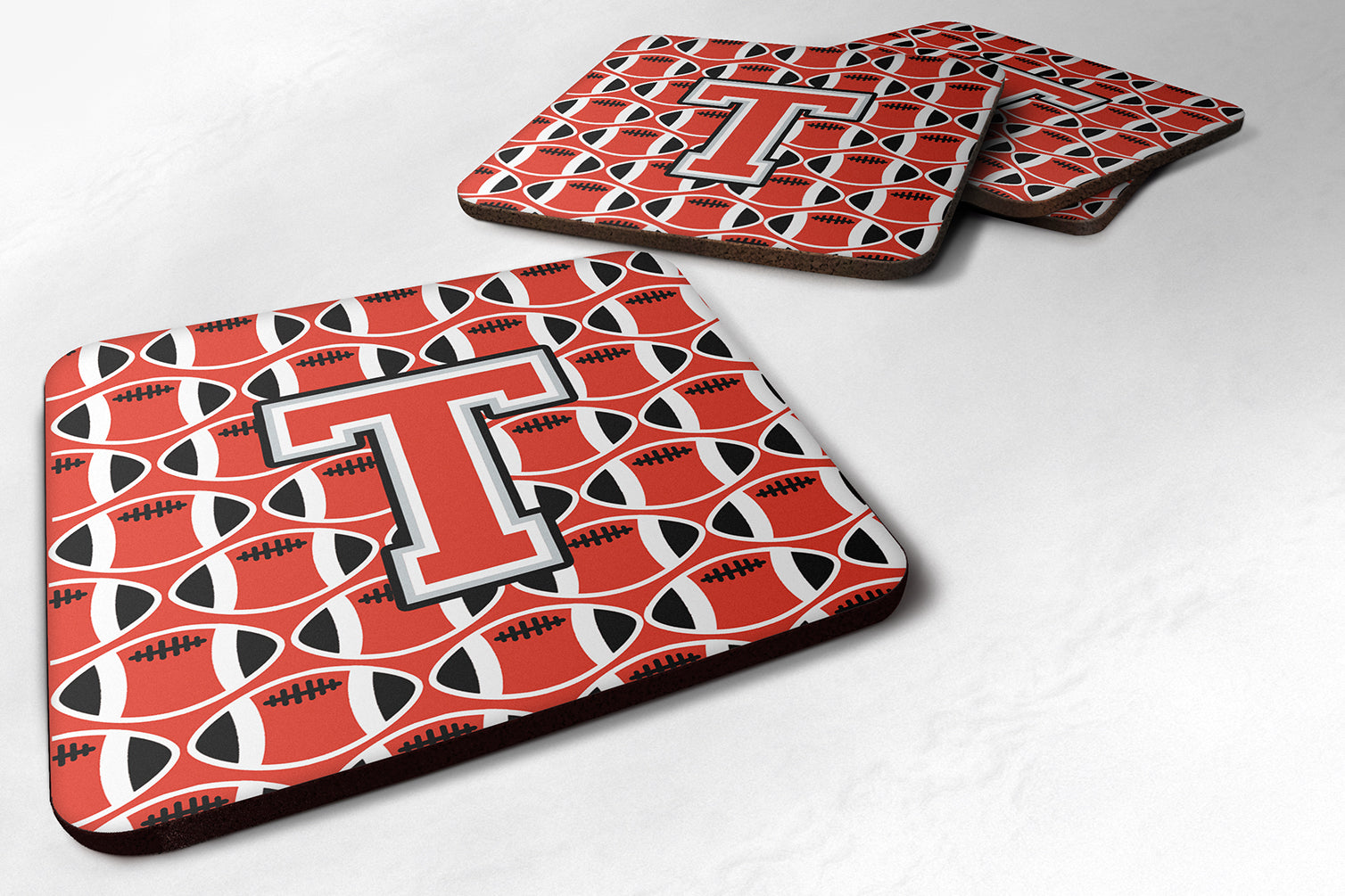 Letter T Football Scarlet and Grey Foam Coaster Set of 4 CJ1067-TFC by Caroline's Treasures