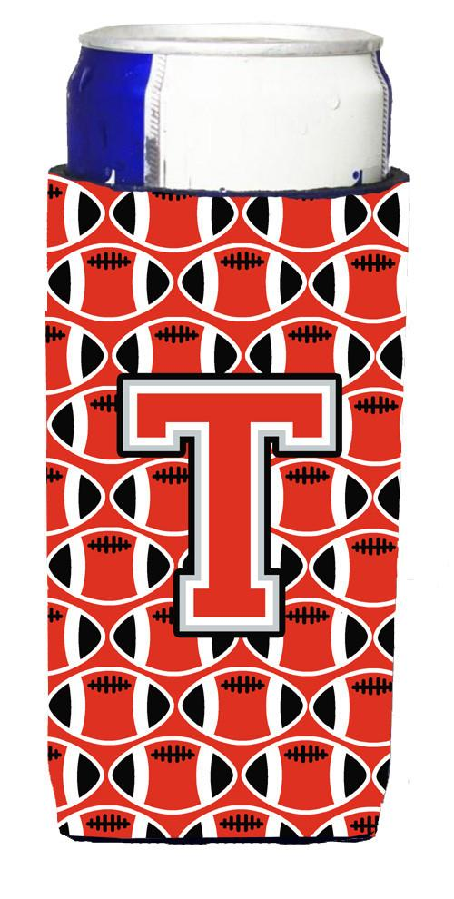 Letter T Football Scarlet and Grey Ultra Beverage Insulators for slim cans CJ1067-TMUK by Caroline's Treasures