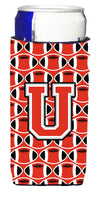 Buy this Letter U Football Scarlet and Grey Ultra Beverage Insulators for slim cans CJ1067-UMUK