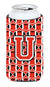Buy this Letter U Football Scarlet and Grey Tall Boy Beverage Insulator Hugger CJ1067-UTBC