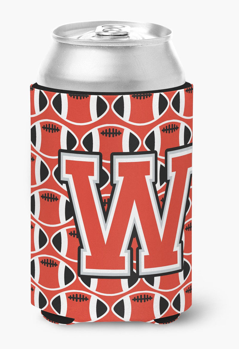 Buy this Letter W Football Scarlet and Grey Can or Bottle Hugger CJ1067-WCC