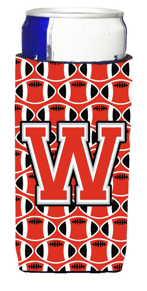 Letter W Football Scarlet and Grey Ultra Beverage Insulators for slim cans CJ1067-WMUK by Caroline's Treasures