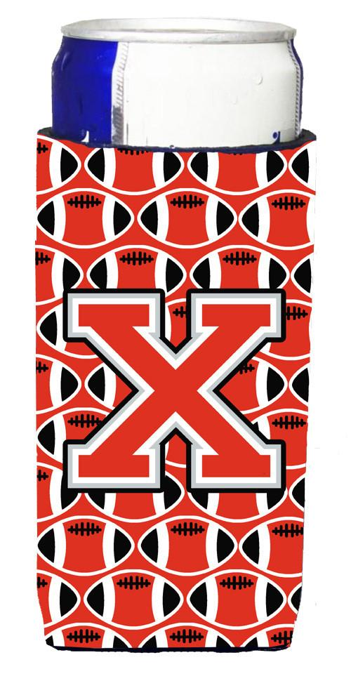 Letter X Football Scarlet and Grey Ultra Beverage Insulators for slim cans CJ1067-XMUK by Caroline's Treasures