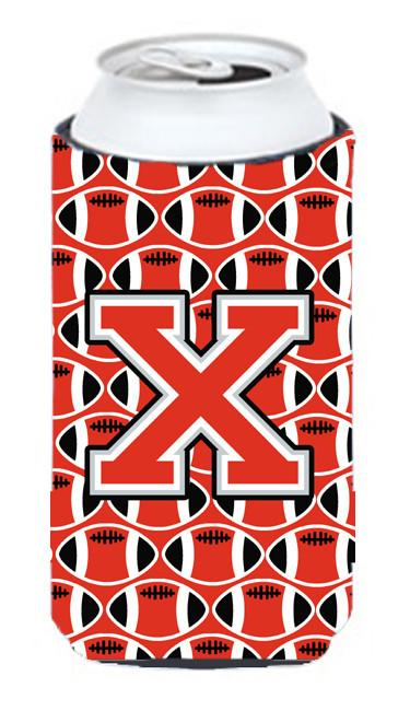 Letter X Football Scarlet and Grey Tall Boy Beverage Insulator Hugger CJ1067-XTBC by Caroline's Treasures