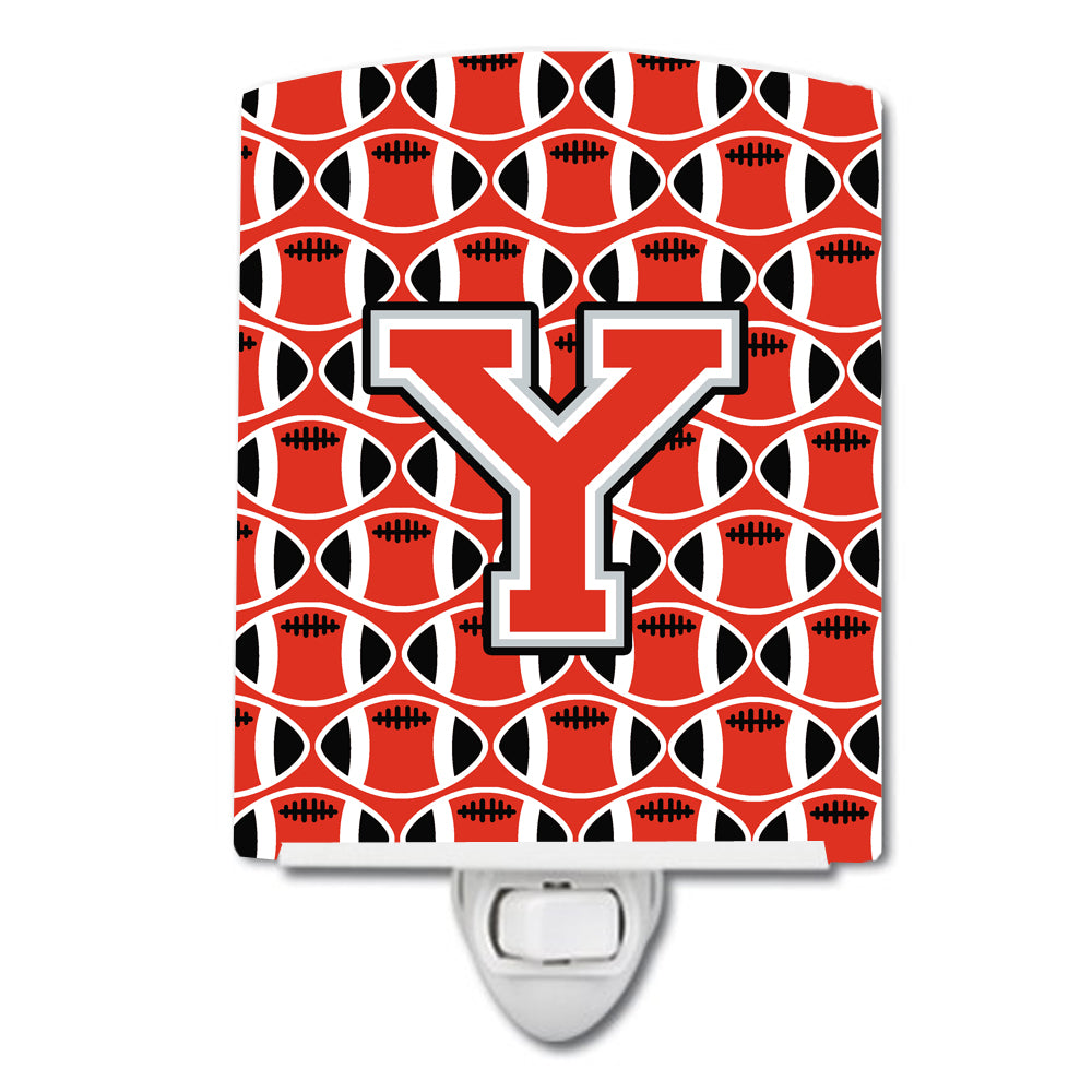 Buy this Letter Y Football Scarlet and Grey Ceramic Night Light CJ1067-YCNL