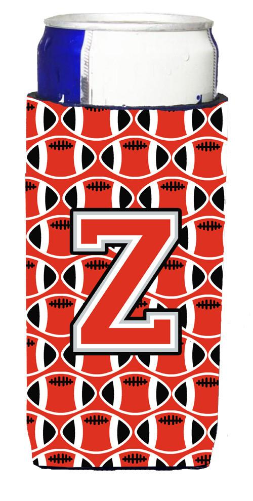 Letter Z Football Scarlet and Grey Ultra Beverage Insulators for slim cans CJ1067-ZMUK by Caroline's Treasures