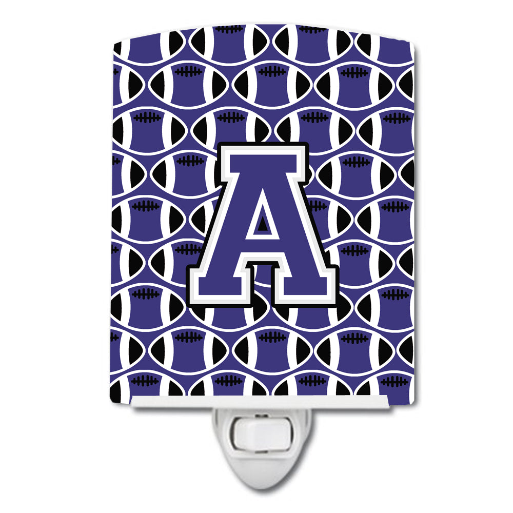 Buy this Letter A Football Purple and White Ceramic Night Light CJ1068-ACNL