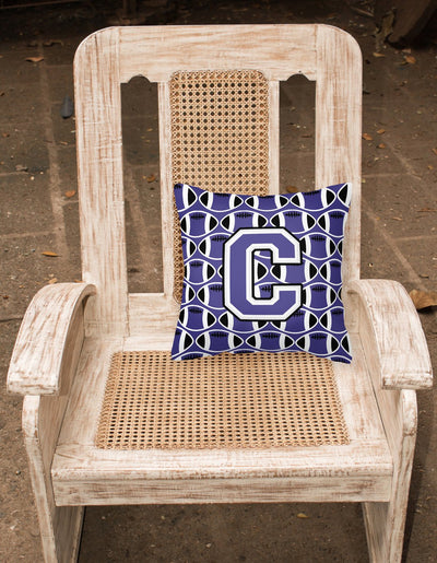 Letter C Football Purple and White Fabric Decorative Pillow CJ1068-CPW1414