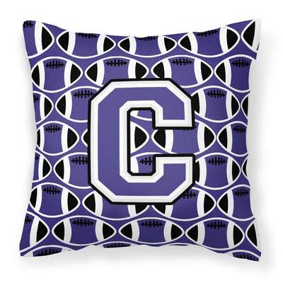 Buy this Letter C Football Purple and White Fabric Decorative Pillow CJ1068-CPW1414