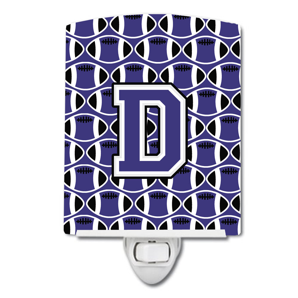 Letter D Football Purple and White Ceramic Night Light CJ1068-DCNL by Caroline's Treasures