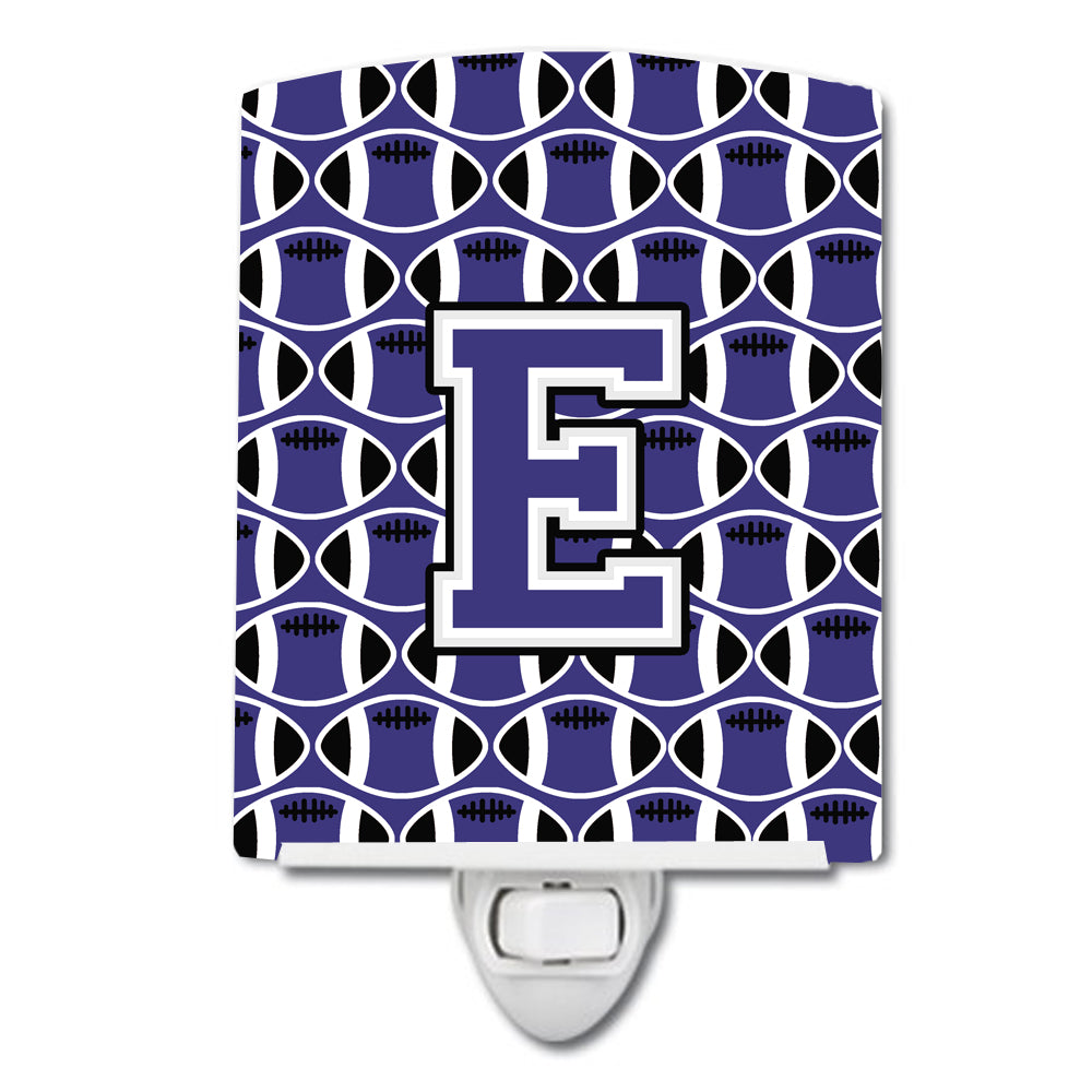 Buy this Letter E Football Purple and White Ceramic Night Light CJ1068-ECNL
