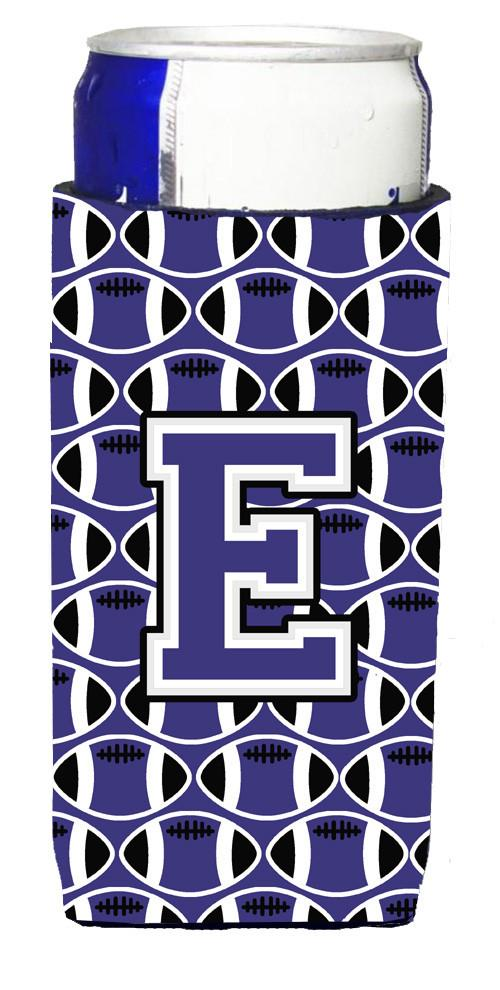 Letter E Football Purple and White Ultra Beverage Insulators for slim cans CJ1068-EMUK by Caroline's Treasures