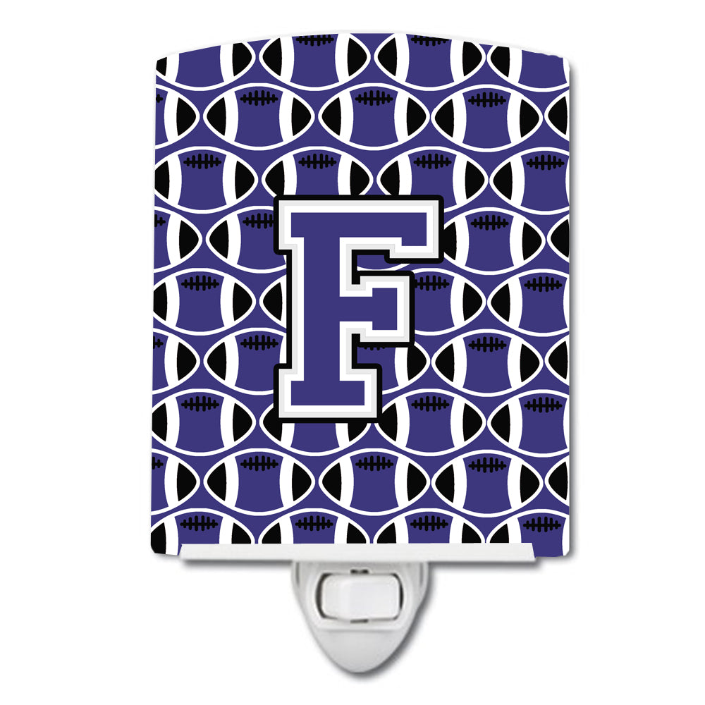 Buy this Letter F Football Purple and White Ceramic Night Light CJ1068-FCNL