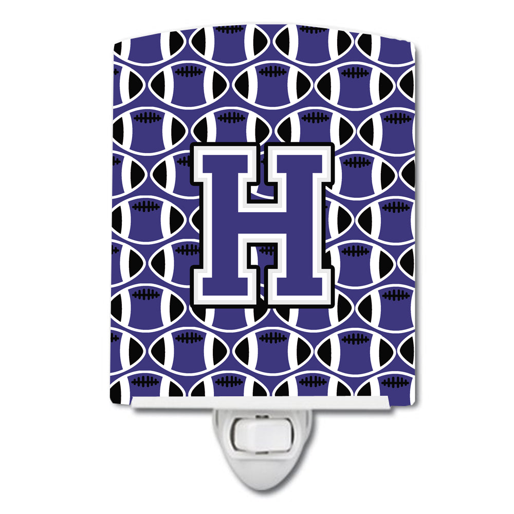 Letter H Football Purple and White Ceramic Night Light CJ1068-HCNL by Caroline's Treasures