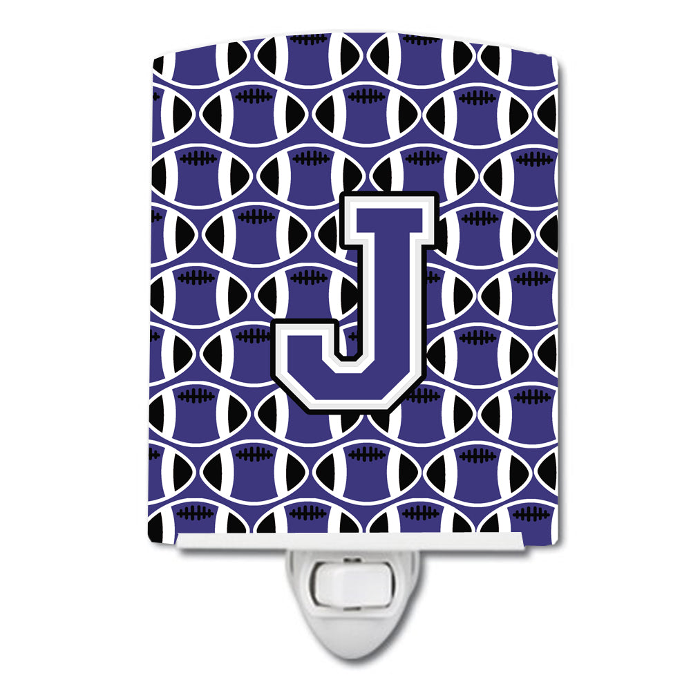 Letter J Football Purple and White Ceramic Night Light CJ1068-JCNL by Caroline's Treasures