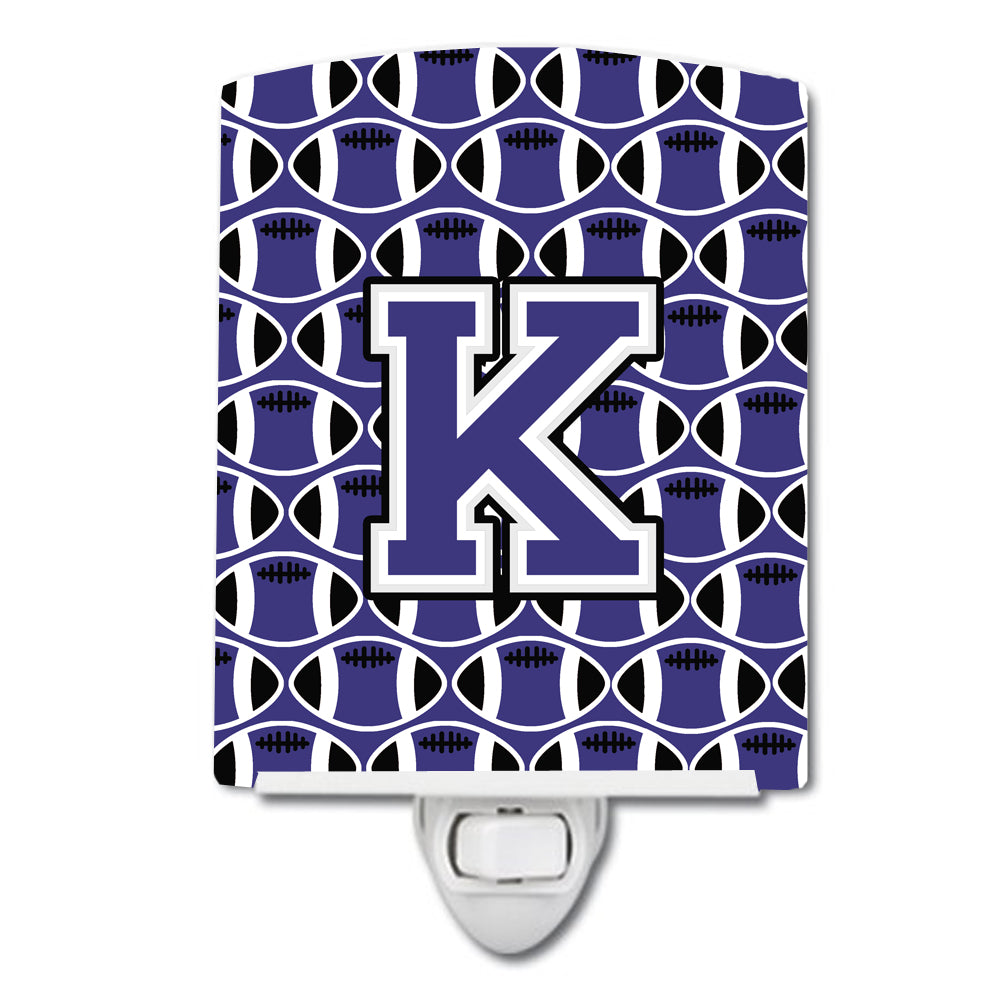 Buy this Letter K Football Purple and White Ceramic Night Light CJ1068-KCNL