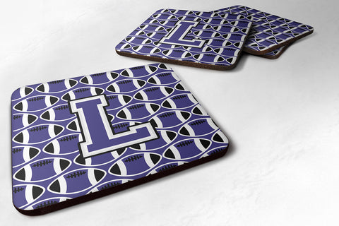 Buy this Letter L Football Purple and White Foam Coaster Set of 4 CJ1068-LFC