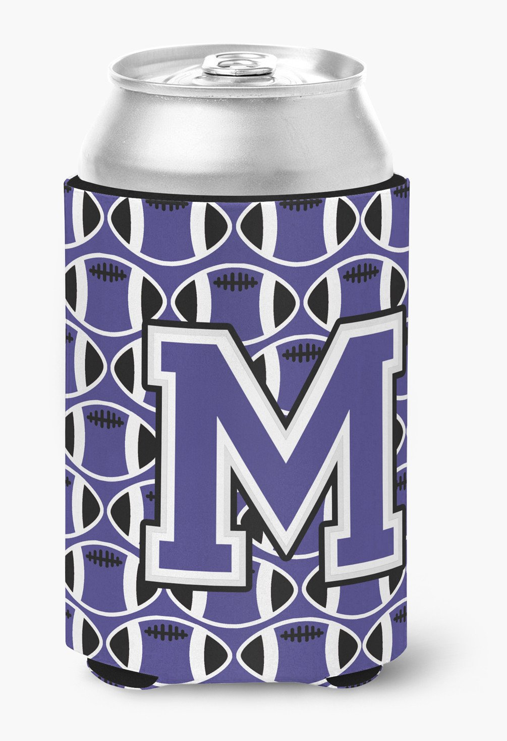Letter M Football Purple and White Can or Bottle Hugger CJ1068-MCC by Caroline's Treasures