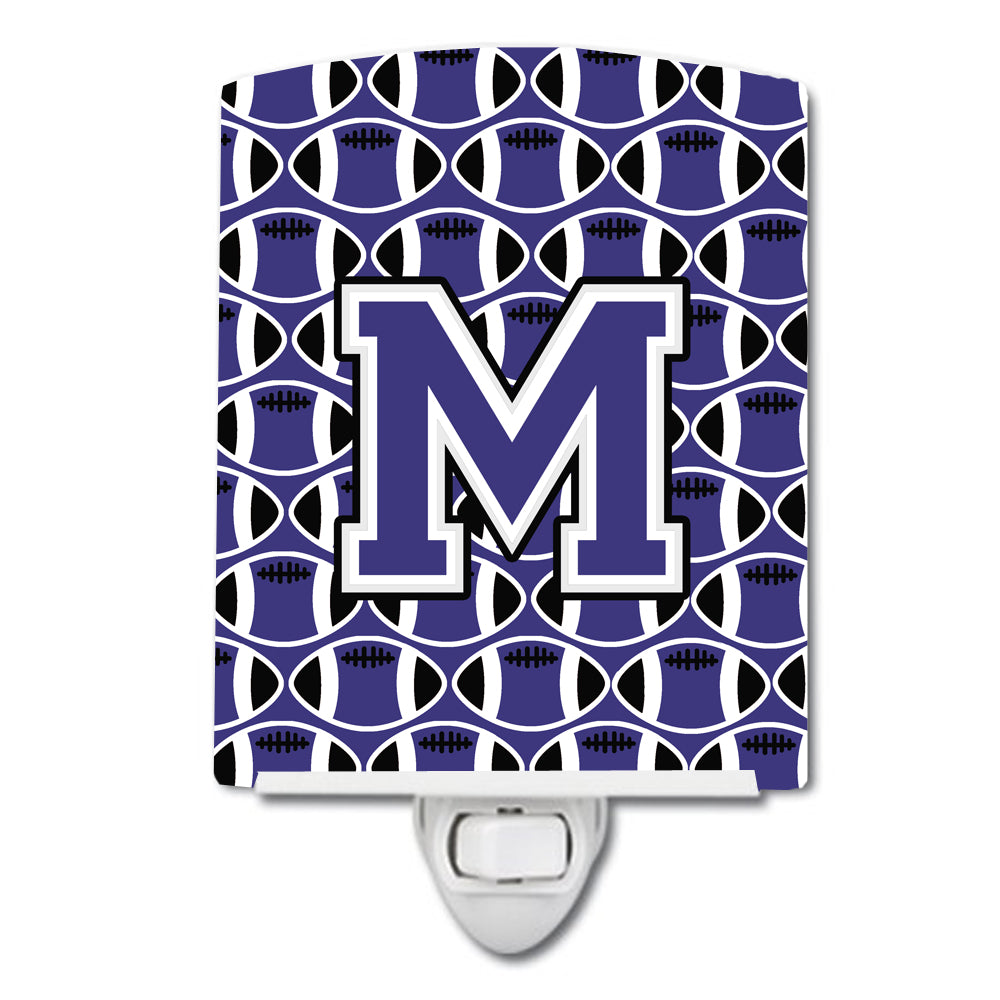 Buy this Letter M Football Purple and White Ceramic Night Light CJ1068-MCNL