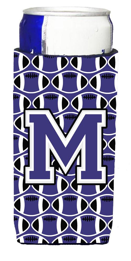 Letter M Football Purple and White Ultra Beverage Insulators for slim cans CJ1068-MMUK by Caroline's Treasures
