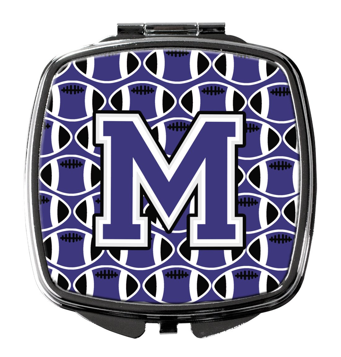 Letter M Football Purple and White Compact Mirror CJ1068-MSCM by Caroline's Treasures