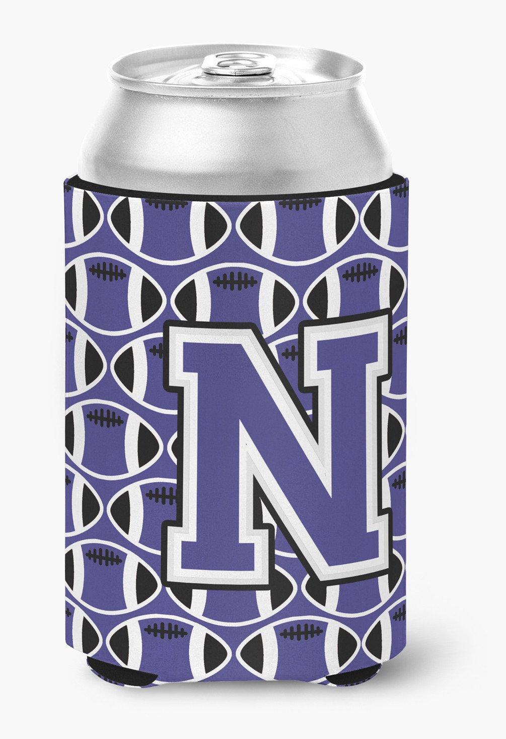 Letter N Football Purple and White Can or Bottle Hugger CJ1068-NCC by Caroline's Treasures