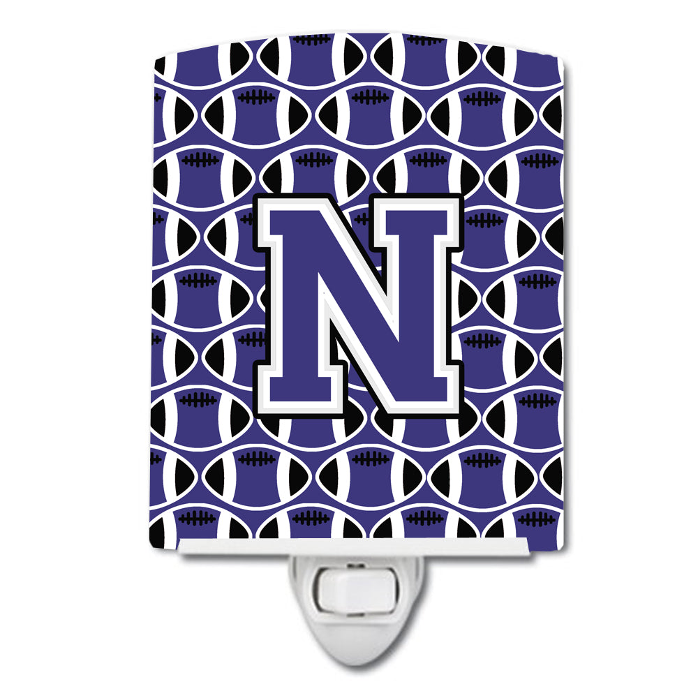 Buy this Letter N Football Purple and White Ceramic Night Light CJ1068-NCNL