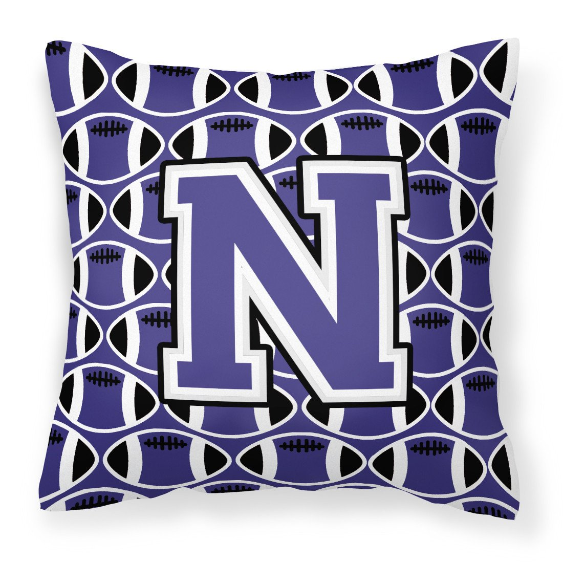 Letter N Football Purple and White Fabric Decorative Pillow CJ1068-NPW1414 by Caroline's Treasures