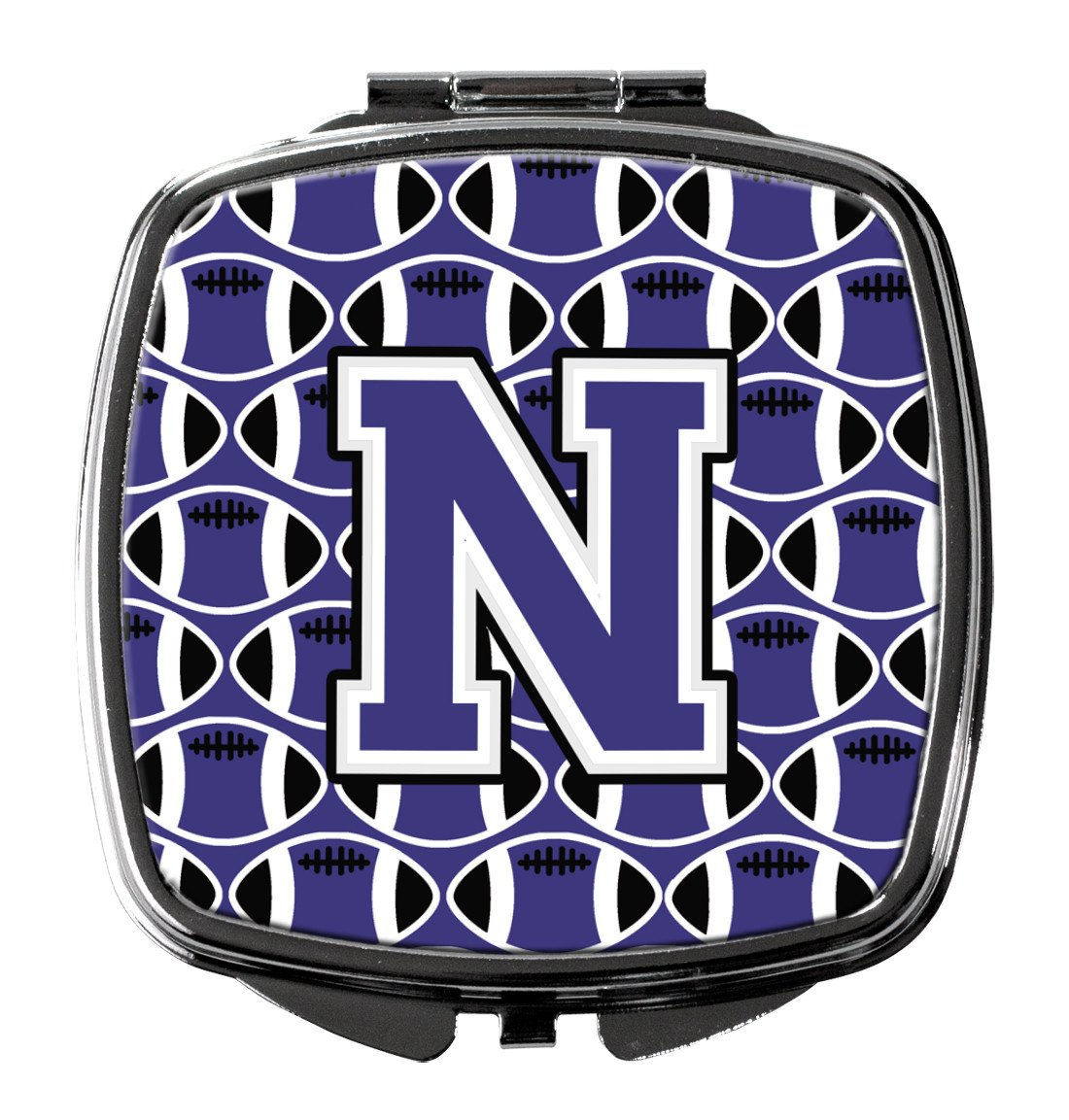 Letter N Football Purple and White Compact Mirror CJ1068-NSCM by Caroline's Treasures