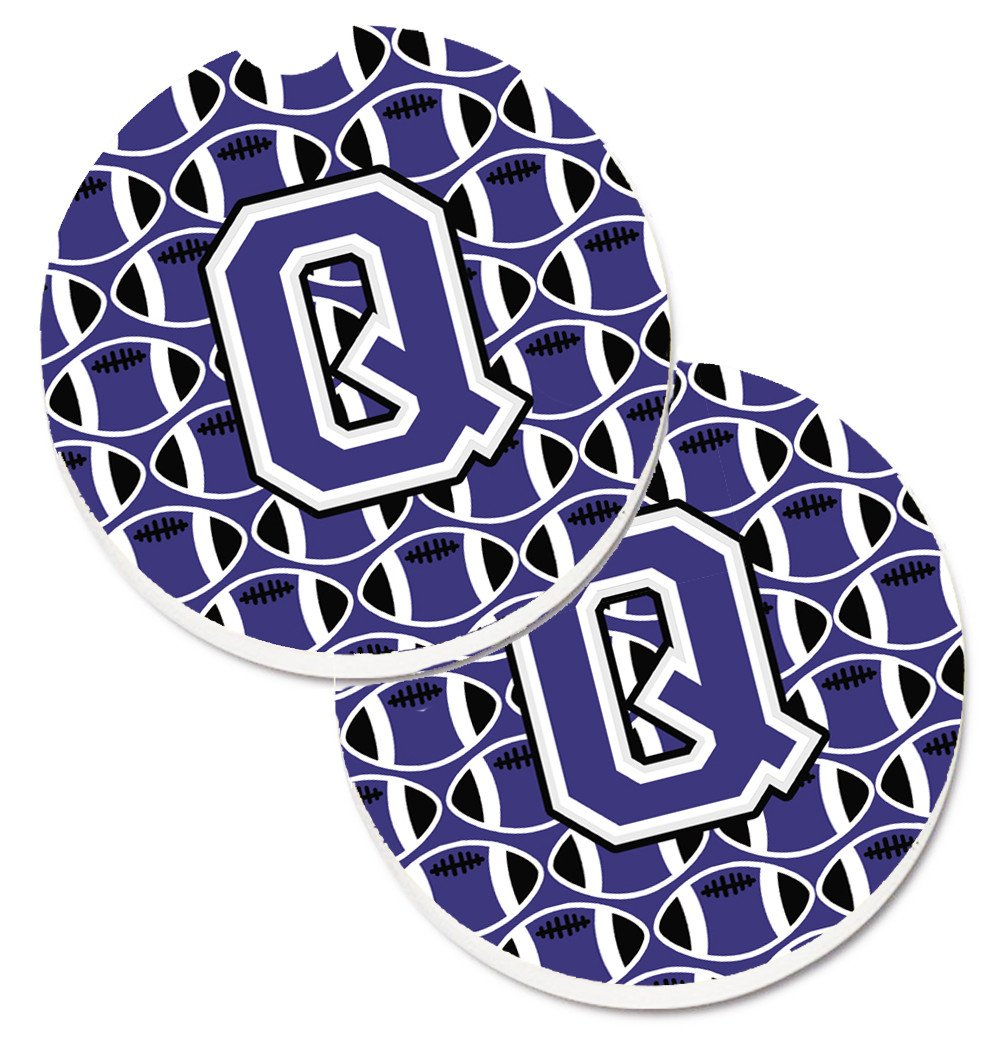 Letter Q Football Purple and White Set of 2 Cup Holder Car Coasters CJ1068-QCARC by Caroline's Treasures