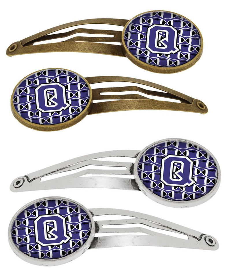 Buy this Letter Q Football Purple and White Set of 4 Barrettes Hair Clips CJ1068-QHCS4