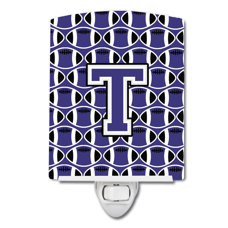 Buy this Letter T Football Purple and White Ceramic Night Light CJ1068-TCNL
