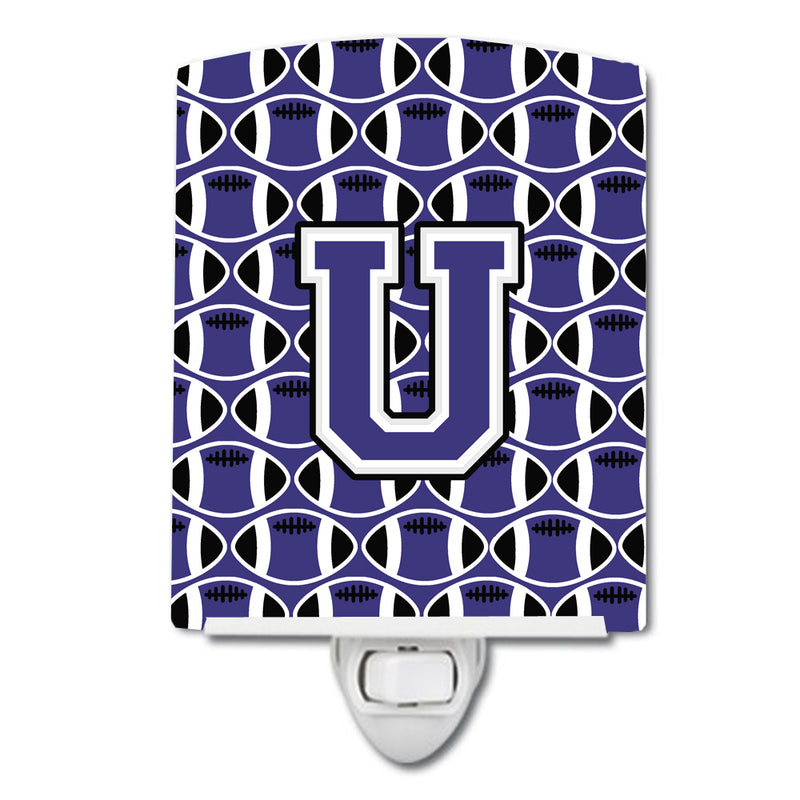 Buy this Letter U Football Purple and White Ceramic Night Light CJ1068-UCNL