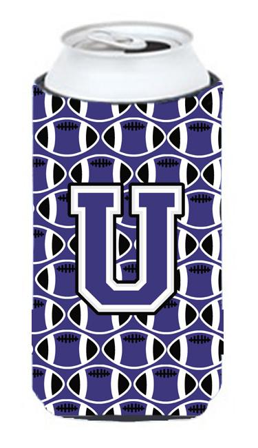 Buy this Letter U Football Purple and White Tall Boy Beverage Insulator Hugger CJ1068-UTBC