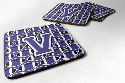 Buy this Letter V Football Purple and White Foam Coaster Set of 4 CJ1068-VFC