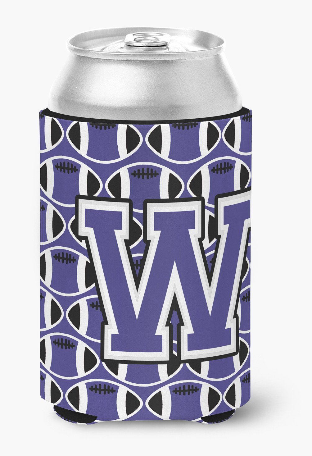 Buy this Letter W Football Purple and White Can or Bottle Hugger CJ1068-WCC