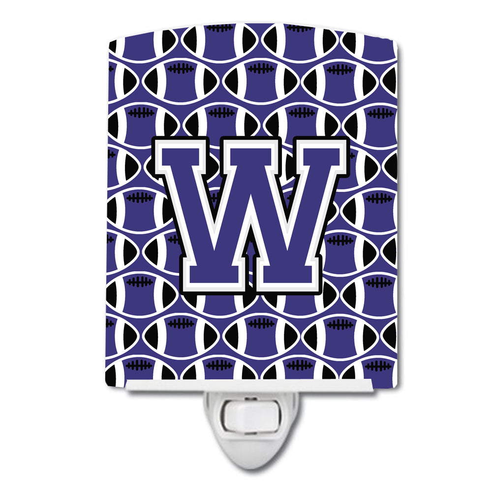 Buy this Letter W Football Purple and White Ceramic Night Light CJ1068-WCNL