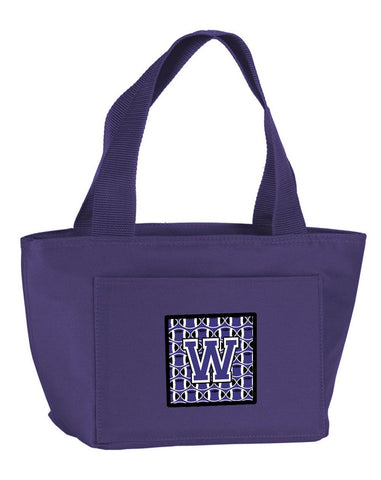 Buy this Letter W Football Purple and White Lunch Bag CJ1068-WPR-8808