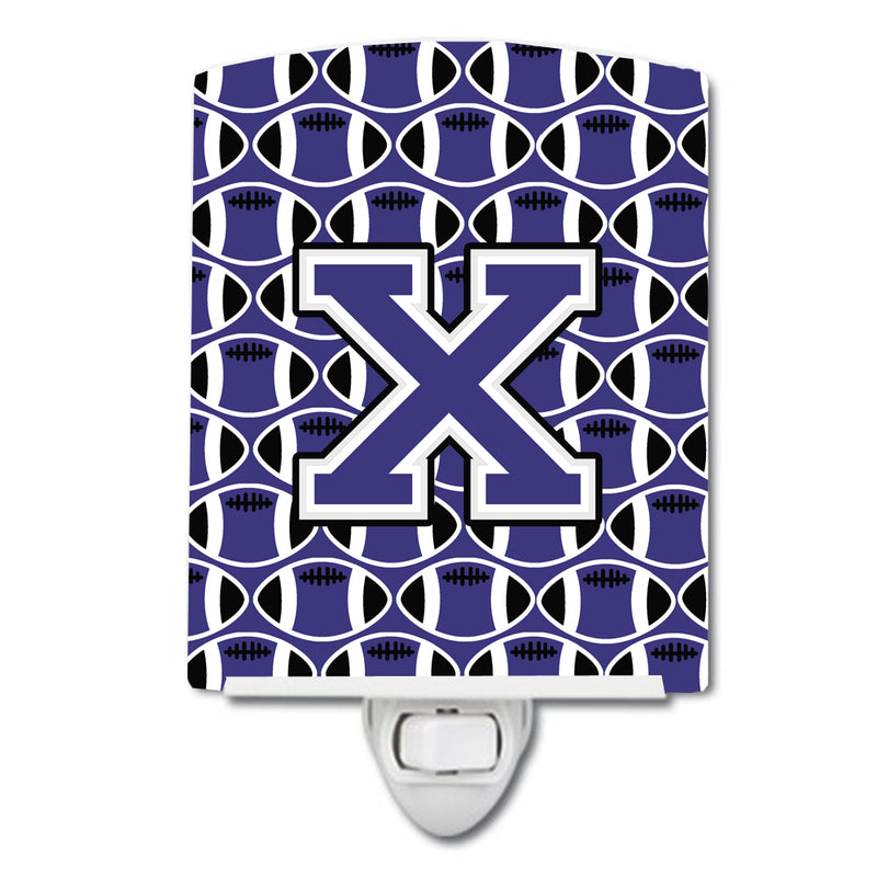 Buy this Letter X Football Purple and White Ceramic Night Light CJ1068-XCNL