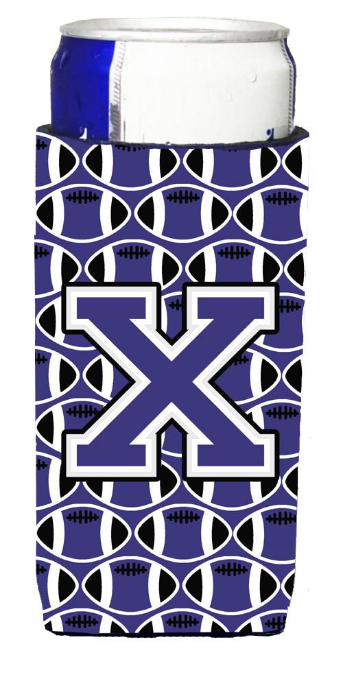 Letter X Football Purple and White Ultra Beverage Insulators for slim cans CJ1068-XMUK by Caroline's Treasures