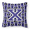 Letter X Football Purple and White Fabric Decorative Pillow CJ1068-XPW1414 by Caroline's Treasures