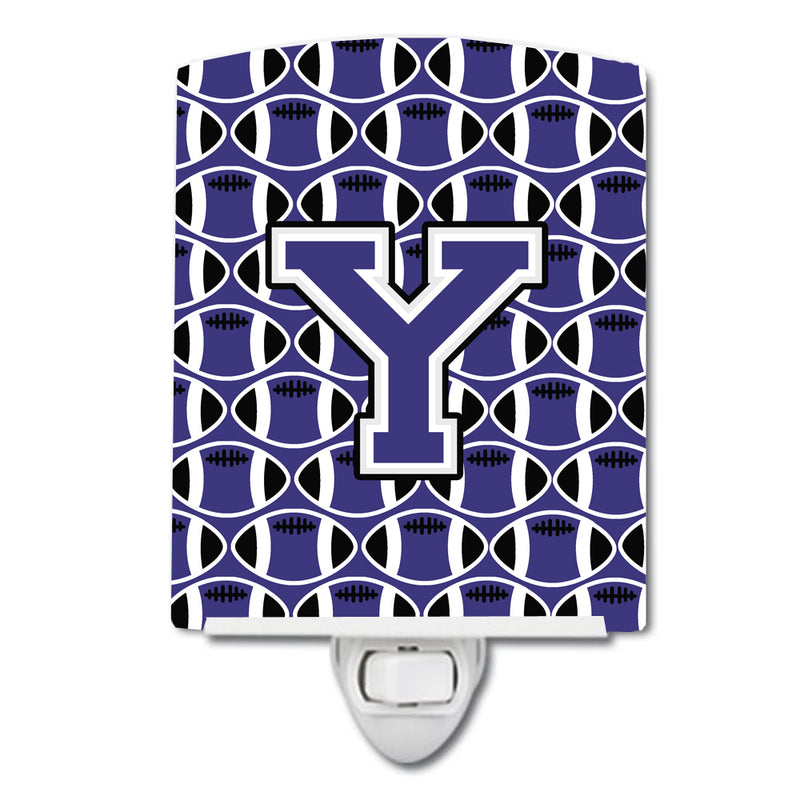 Buy this Letter Y Football Purple and White Ceramic Night Light CJ1068-YCNL