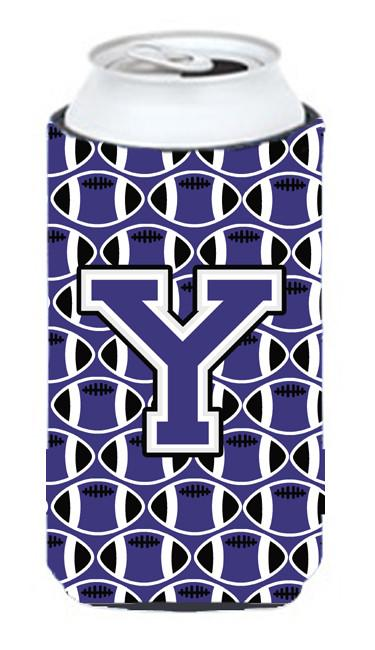 Letter Y Football Purple and White Tall Boy Beverage Insulator Hugger CJ1068-YTBC by Caroline's Treasures