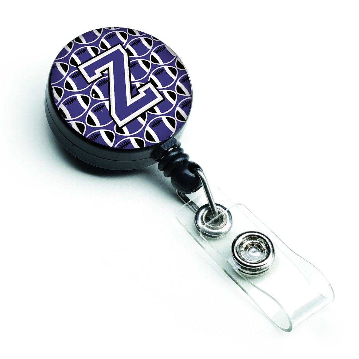 Letter Z Football Purple and White Retractable Badge Reel CJ1068-ZBR by Caroline's Treasures